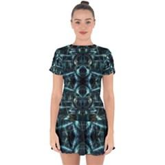 Abstract Fractal Magical Drop Hem Mini Chiffon Dress by Sapixe