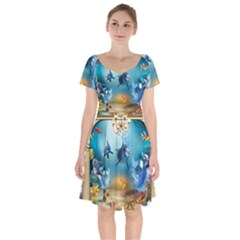 Dolphin Art Creation Natural Water Short Sleeve Bardot Dress by Sapixe