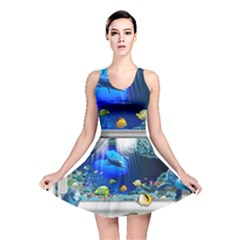 Dolphin Art Creation Natural Water Reversible Skater Dress by Sapixe