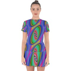 Ellipse Pattern Elliptical Fractal Drop Hem Mini Chiffon Dress by Sapixe