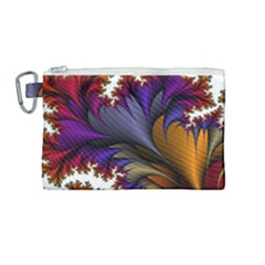 Flora Entwine Fractals Flowers Canvas Cosmetic Bag (medium) by Sapixe
