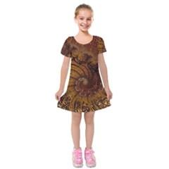 Copper Caramel Swirls Abstract Art Kids  Short Sleeve Velvet Dress