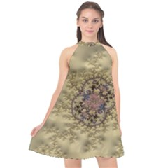 Fractal Art Colorful Pattern Halter Neckline Chiffon Dress  by Sapixe