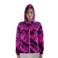 Fractal Artwork Pink Purple Elegant Hooded Windbreaker (women) by Sapixe