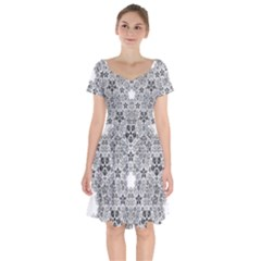 Fractal Background Foreground Short Sleeve Bardot Dress by Sapixe