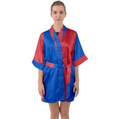 Red And Blue Quarter Sleeve Kimono Robe by jumpercat