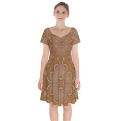 Fractal Pattern Decoration Abstract Short Sleeve Bardot Dress