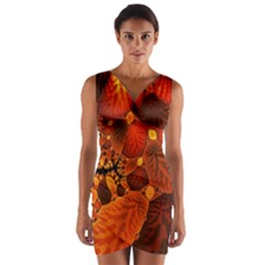 Leaf Autumn Nature Background Wrap Front Bodycon Dress
