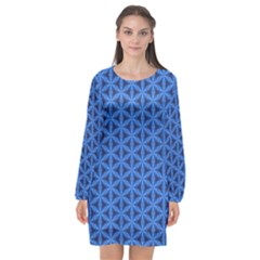 Blue Snake Scales Pattern Long Sleeve Chiffon Shift Dress  by jumpercat