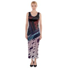 Industry Fractals Geometry Graphic Fitted Maxi Dress