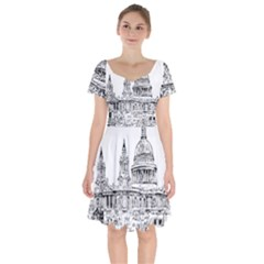 Line Art Architecture Church Short Sleeve Bardot Dress by Sapixe