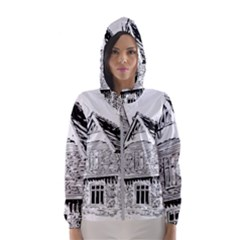 Line Art Architecture Old House Hooded Windbreaker (women) by Sapixe