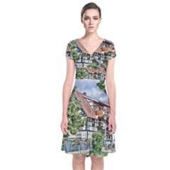 Homes Building Short Sleeve Front Wrap Dress