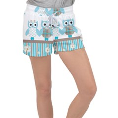 Owl Animal Daisy Flower Stripes Women s Velour Lounge Shorts by Sapixe