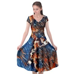 Wow Art Brave Vintage Style Cap Sleeve Wrap Front Dress by Sapixe