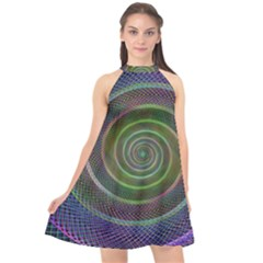 Spiral Fractal Digital Modern Halter Neckline Chiffon Dress  by Sapixe