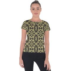 Golden Ornate Intricate Pattern Short Sleeve Sports Top  by dflcprints