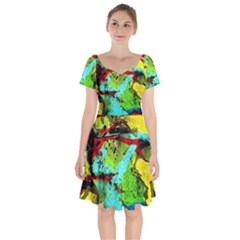 Yellow Dolphins   Blue Lagoon 6 Short Sleeve Bardot Dress