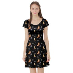 Foxes Short Sleeve Skater Dress by greenthanet