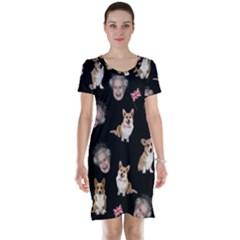 Queen Elizabeth s Corgis Pattern Short Sleeve Nightdress by Valentinaart