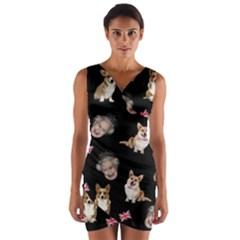 Queen Elizabeth s Corgis Pattern Wrap Front Bodycon Dress by Valentinaart