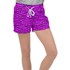 Hot Neon Pink And Black Tiger Stripes Women s Velour Lounge Shorts
