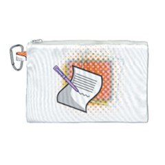 Letter Paper Note Design White Canvas Cosmetic Bag (large) by Sapixe