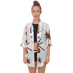 Nature Insect Natural Wildlife Open Front Chiffon Kimono by Sapixe