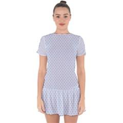 Alice Blue Hearts In An English Country Garden Drop Hem Mini Chiffon Dress by PodArtist