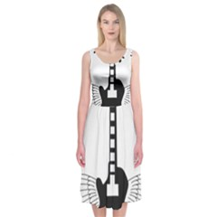 Guitar Abstract Wings Silhouette Midi Sleeveless Dress