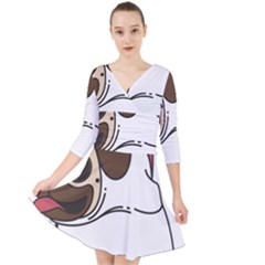 Pug Unicorn Dog Animal Puppy Quarter Sleeve Front Wrap Dress by Sapixe