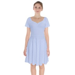 Alice Blue Mini Footpath In English Country Garden  Short Sleeve Bardot Dress by PodArtist