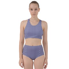 Usa Flag Blue And White Gingham Checked Racer Back Bikini Set by PodArtist