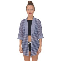 Usa Flag Blue And White Gingham Checked Open Front Chiffon Kimono by PodArtist