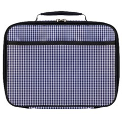 Usa Flag Blue And White Gingham Checked Full Print Lunch Bag by PodArtist