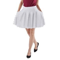 Usa Flag Blue Stars On White A Line Pocket Skirt by PodArtist