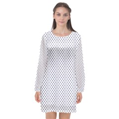 Usa Flag Blue Stars On White Long Sleeve Chiffon Shift Dress  by PodArtist