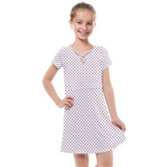 Usa Flag Red And Flag Blue Stars Kids  Cross Web Dress by PodArtist