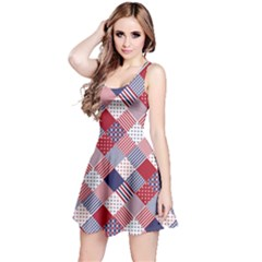 Usa Americana Diagonal Red White & Blue Quilt Reversible Sleeveless Dress by PodArtist