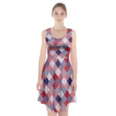 Usa Americana Diagonal Red White & Blue Quilt Racerback Midi Dress by PodArtist