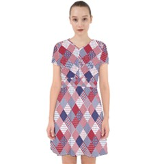 Usa Americana Diagonal Red White & Blue Quilt Adorable In Chiffon Dress by PodArtist