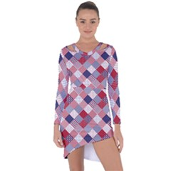 Usa Americana Diagonal Red White & Blue Quilt Asymmetric Cut Out Shift Dress by PodArtist
