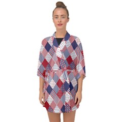 Usa Americana Diagonal Red White & Blue Quilt Half Sleeve Chiffon Kimono