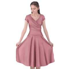 Usa Flag Red And White Stripes Cap Sleeve Wrap Front Dress by PodArtist