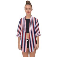 Usa Flag Red White And Flag Blue Wide Stripes Open Front Chiffon Kimono by PodArtist