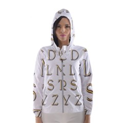 Letters Gold Classic Alphabet Hooded Windbreaker (women) by Sapixe