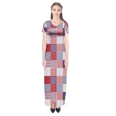 Usa Americana Patchwork Red White & Blue Quilt Short Sleeve Maxi Dress by PodArtist