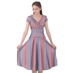 Usa Flag Red And Flag Blue Narrow Thin Stripes  Cap Sleeve Wrap Front Dress by PodArtist