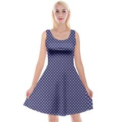 Usa Flag White Stars On Flag Blue Reversible Velvet Sleeveless Dress by PodArtist