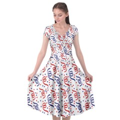 Red White And Blue Usa/uk/france Colored Party Streamers Cap Sleeve Wrap Front Dress by PodArtist